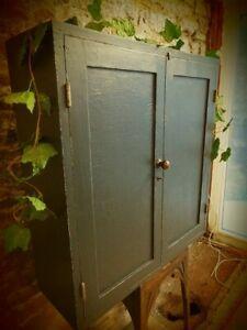 Vintage Industrial Old Pine Rustic Wall Storage Cupboard.