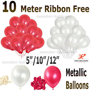 25 pk Red & White latex pearl  Balloons Valentines Special Decorations baloons