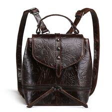 New Women Genuine Real Cow Leather Backpack Travel Bag Embossed Handbag Coffee