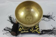 "NHZ 5.5""F Note Pin Carving Buddha Head With Mantra,Tibetan,Healing,Singing Bowl"