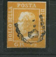 ITALY STATES  SICILY 1859 RARE USED 1/2 GRANO ORANGE YELLOW BUT IS IT A FORGERY?