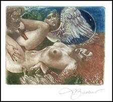 David Bekker Exlibris C4 Leda and Swan Erotic Nude Sex Woman Horse Bird d89