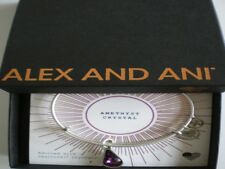 Alex and Ani February Amethyst Bangle Bracelet Teardrop Raf Silver NWTBC