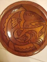 Vintage Hand Carved Fish Monkey Pod Wood Fruit Salad Bowl Hawaii Philippines