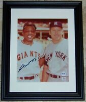 READ! Willie Mays w Mickey Mantle Signed Autographed Baseball 8x10 Photo PSA COA