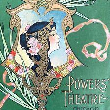 1908 CHICAGO POWERS' THEATRE antique program w/ COMISKEY'S WHITE SOX BASEBALL AD