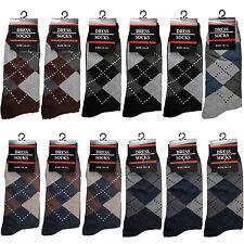 New 12 Pairs Mens Argyle Geometric Fashion Crew Cotton Dress Socks Size 10-13