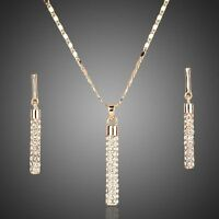 18K Gold Plated Swarovski Elements Crystal Jewellery Set Necklace And Earrings
