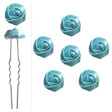 6 épingles pics cheveux chignon mariage mariée petites roses en satin bleu ciel