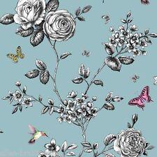 Papel Pintado Por Ideco Hogar Jardín de Rosas-Cerceta A14602
