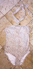 NWT Michael Kors Gold White Hi-Neck Maillot One-Piece Swimsuit Halter Women's 12