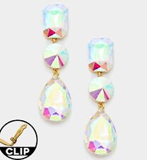 Big Clip On Aurora Borealis Ab Gold Clear Pageant Crystal Earrings