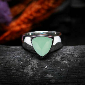 Fine Chalcedony Gemstone Solid 925 Sterling Silver Statement Mens Ring Jewelry