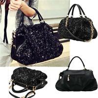 Women Ladies Sequins Handbag Leather Shoulder Bag Messenger Tote Purse  * /