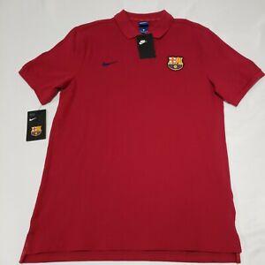 New Nike FC Barcelona Soccer Red Cotton Polo Shirt Mens Size Medium Golf