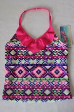 NEW Girls Tankini Top Swimsuit Medium 7 - 8 Pink Purple Halter Top Bathing Suit