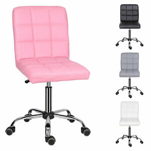 Adjustable Swivel Office Chair PC Desk Computer Chair PU Leather Padded Seat UK