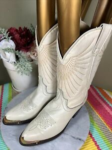 Laredo White Leather Western Cowboy Front Metal Cap Boots Women's Size US 6.5 M
