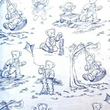 Blue Jean Teddy Bear Playtime Blue Toile Cotton Fabric by the Yard