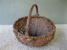 "Antique Basket, Melon Vintage Primitive 9-1/4"" Egg Gathering, Oak Splint"