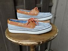 Women's Sperry Top Side Boat Shoes Size 8M Oxford Seersucker Stripe Blue/White