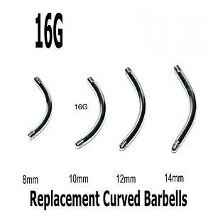 Curved Threaded Barbell Blanks 10 Spare Rook Snug Helix Eyebrow Belly Bars 16g