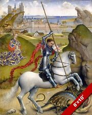 ST GEORGE OF ENGLAND SLAYING KILLING THE DRAGON PAINTING ART REAL CANVAS PRINT