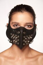 Black Faux Leather Mouth Face Cover with Spike Rocker Steam Punk Biker Prop Mask