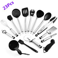 23Pcs Healthy Stainless Steel Kitchen Utensil Set Spatula Spoon Serving Tools