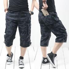 Summer Mens Cargo Capri Short Pants Rope  Baggy Camo Long Short Pant Travel/Work