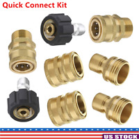 """8 PCS Pressure Washer Adapter Garden Hose Quick Connect Fittings M22 To 3/8"""" Kit"""
