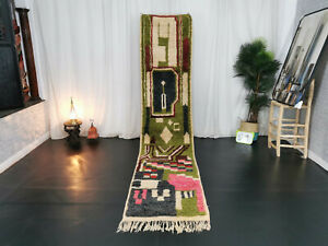 Moroccan Vintage Handmade Boujaad Runner 2'5x11'4 Abstract Green Pink Berber Rug