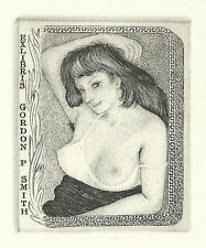 Erotisches Exlibris Mark Severin Erotic Nude Orig. Copper engraving Gordon Smith