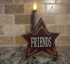 """4"""" FRIENDS Wood Star Shelve Sitter Standing Primitive country Rustic wine sign"""