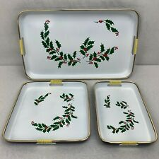 Vintage Christmas Holly Lacquerware 3 Pc Nesting Tray Set Gold Rim Made in Japan