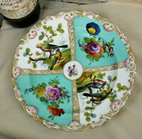 Gorgeous German porcelain Marked hand paint floral birds plate