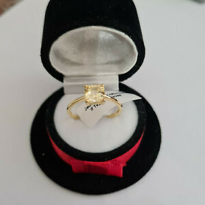 Asscher cut Citrine Solitaire Ring in 14k gold over Sterling Silver