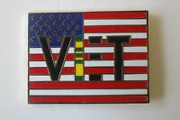 US USA American Vietnam Flag Military Hat Lapel Pin