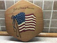 "Longaberger 8"" Generations Basket Wood Lid K.S. Lanam AMERICAN FLAG"