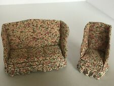 Dollhouse Furniture Set Sofa Wing-Back Chair Living Room Upholstered Floral Home