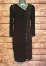 REISS Size Small (8) Dress BLACK/STUD Embellished STRETCH Gathered Long Sleeved