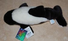 """SEA WORLD AQUATICA WHALE BLACK AND WHITE STUFFED TOY 12"""" LONG WITH TAGS"""