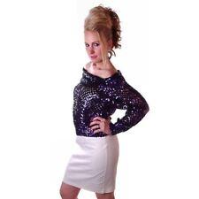 Vintage Womens  Sweater Disco Purple Sequins Partique Brand 1980S 36-38 Bust