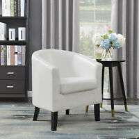 Premium Tub Barrel Club Chair Elegant Design Faux Leather w/ Seat Cushion, White