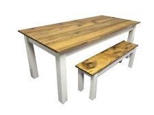 Barn Wood & White Farm Table (Rustic Harvest Farmhouse Kitchen Dinning Table)
