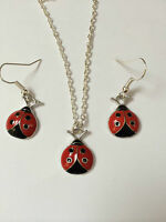 LADYBIRD DANGLE EARRING AND NECKLACE SILVER PLATED CHAIN in gift bag