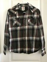 Levis Mens Shirt Size Small Plaid Red Flannel Long Sleeve Button Up