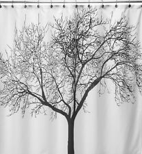 Black Tree Printed Shower Curtain Waterproof Polyester Fabric 72 Inch +12 Hooks