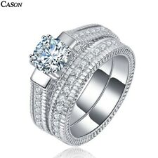 18K White Gold 2-in-1 Ring Jewelry Fashion Aaa Cubic Zirconia Wedding Rings Set