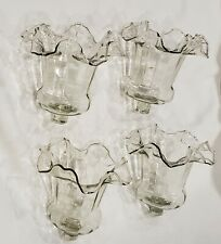 Vintage Home Interior Clear Victorian Fluted Ruffled Votive Cups Set of 4
